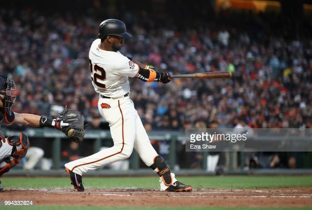 Andrew McCutchen of the San Francisco Giants bats against the Miami Marlins at ATT Park on June 18 2018 in San Francisco California