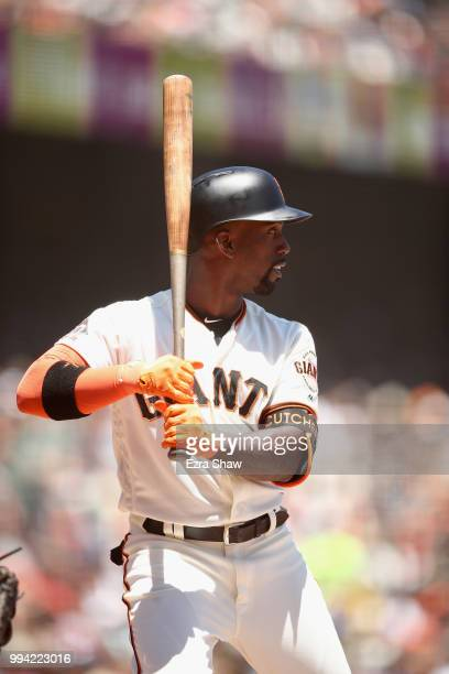 Andrew McCutchen of the San Francisco Giants bats against the St Louis Cardinals at ATT Park on July 7 2018 in San Francisco California