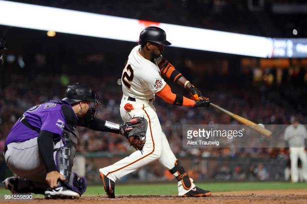 Andrew McCutchen of the San Francisco Giants bats during a game against the Colorado Rockies at ATT Park on Wednesday June 27 2018 in San Francisco...