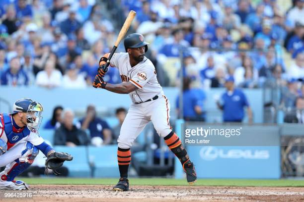 Andrew McCutchen of the San Francisco Giants bats during the game against the Los Angeles Dodgers at Dodger Stadium on Thursday March 29 2018 in Los...