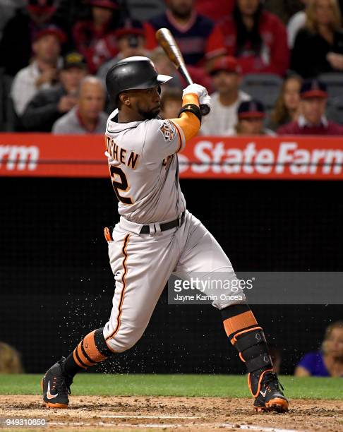 Andrew McCutchen of the San Francisco Giants hits a three run home run in the fifth inning of the game against the Los Angeles Angels of Anaheim at...