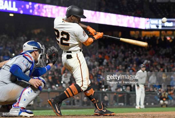 Andrew McCutchen of the San Francisco Giants hits a walkoff threerun homer to defeat the Los Angeles Dodgers 75 in the bottom of the 14th inning at...