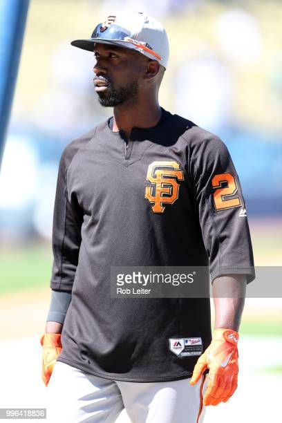 Andrew McCutchen of the San Francisco Giants looks on before the game against the Los Angeles Dodgers at Dodger Stadium on Thursday March 29 2018 in...