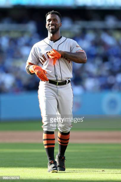 Andrew McCutchen of the San Francisco Giants looks on during the game against the Los Angeles Dodgers at Dodger Stadium on Thursday March 29 2018 in...