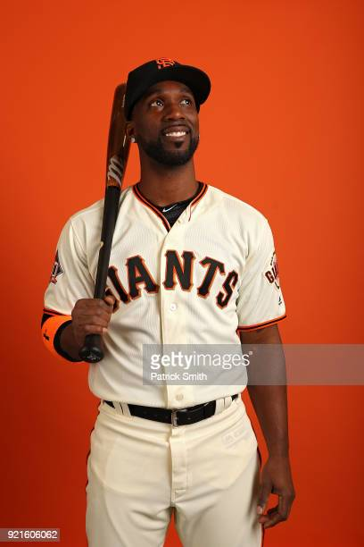 Andrew McCutchen of the San Francisco Giants poses on photo day during MLB Spring Training at Scottsdale Stadium on February 20 2018 in Scottsdale...