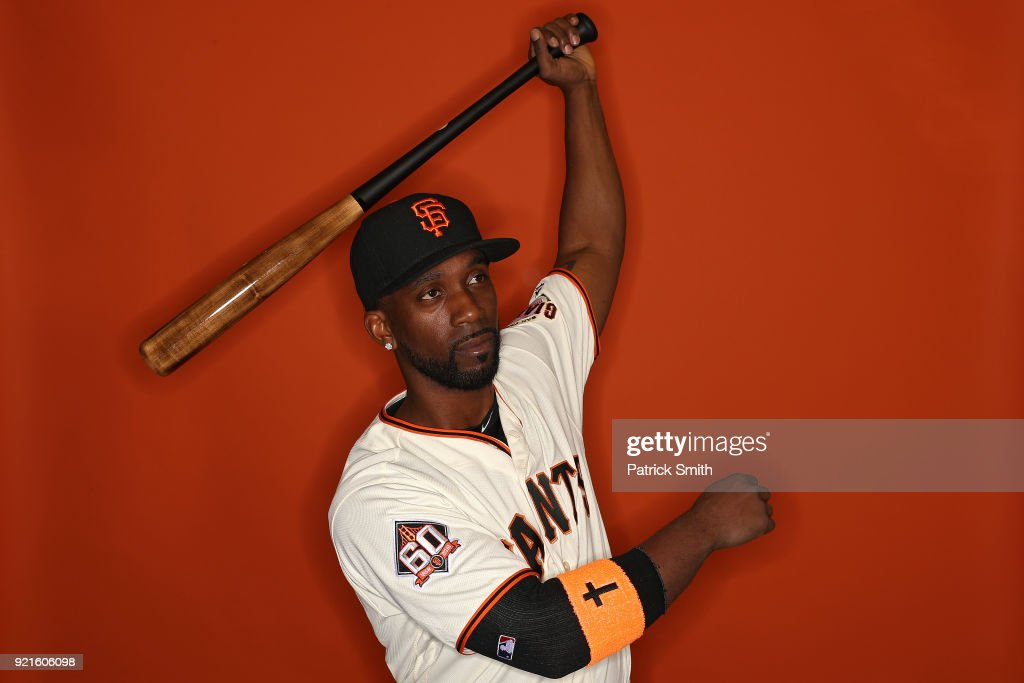 Andrew McCutchen #22 of the San Francisco Giants poses on photo day during MLB Spring Training at Scottsdale Stadium on February 20, 2018 in Scottsdale, Arizona.