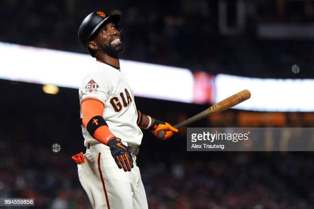 Andrew McCutchen of the San Francisco Giants reacts during a game against the Colorado Rockies at ATT Park on Wednesday June 27 2018 in San Francisco...