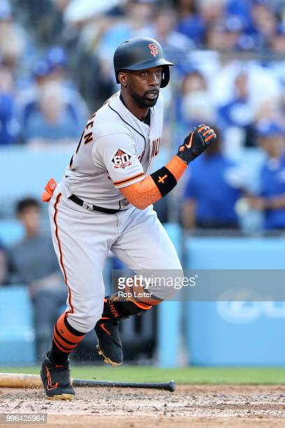 Andrew McCutchen of the San Francisco Giants runs during the game against the Los Angeles Dodgers at Dodger Stadium on Thursday March 29 2018 in Los...