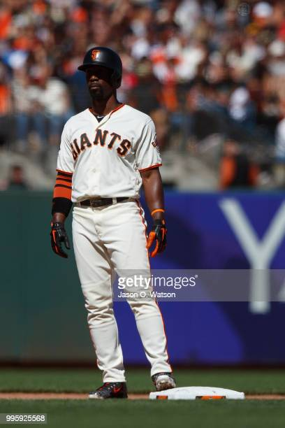Andrew McCutchen of the San Francisco Giants stands on second base against the St Louis Cardinals during the seventh inning at ATT Park on July 8...
