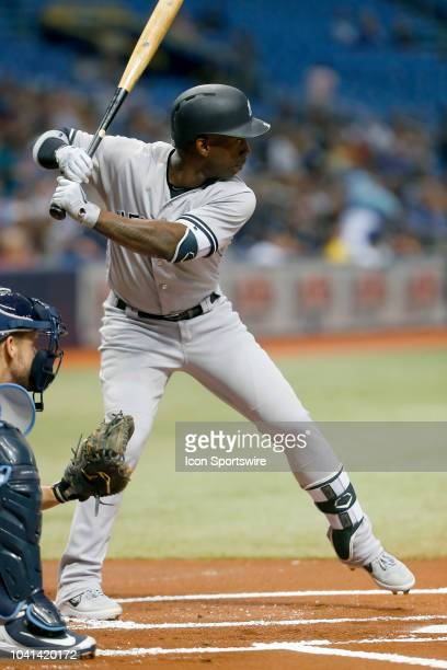 Andrew McCutchen of the Yankees at bat during the MLB regular season game between the New York Yankees and the Tampa Bay Rays on September 25 at...