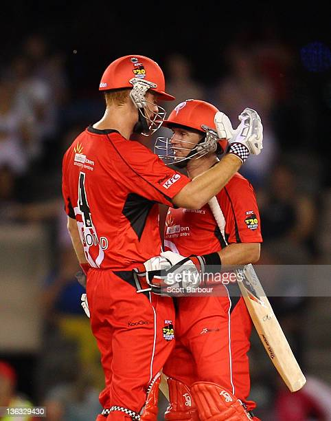 Andrew McDonald and Brad Hodge of the Renegades celebrate after winning the T20 Big Bash League match between the Melbourne Renegades and the Sydney...