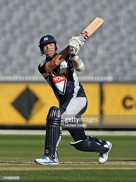 Andrew Mcdonald of the Bushrangers bowls during the Ryobi One Day Cup match between Victorian Bushrangers and the Tasmanian Tigers at Melbourne...