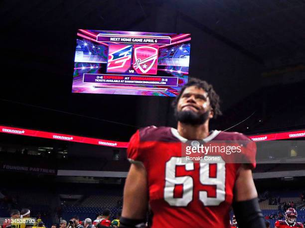 Andrew McDonald of the San Antonio Commanders walks off the field after their game against the Arizona Hot Shots at Alamodome on March 31 2019 in San...