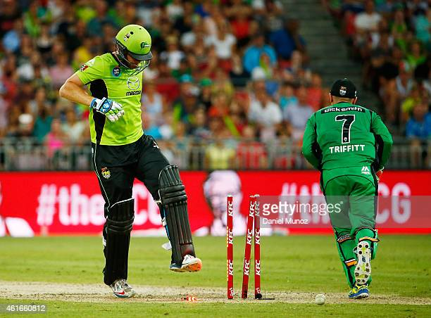 Andrew McDonald of the Thunder reacts after losing his wicket during a Big Bash League match between the Sydney Thunder and the Melbourne Stars at...