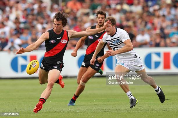 Andrew McGrath of the Bombers in action during the JLT Community Series AFL match between the Geelong Cats and the Essendon Bombers at Queen...