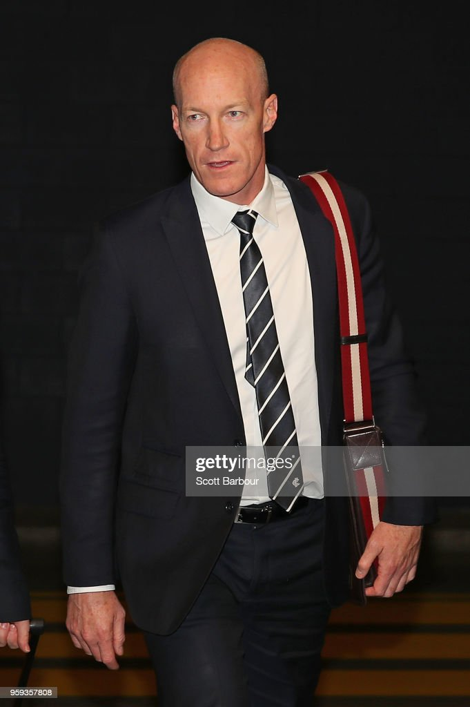 Andrew McKay, General Manager Football Operations at the Carlton Football Club arrives ahead of the AFL Tribunal Appeal Hearing into intentional contact with an umpire by Charlie Curnow and his brother Ed Curnow of the Carlton Blues at AFL House on May 17, 2018 in Melbourne, Australia.