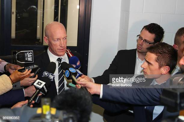 Andrew McKay General Manager Football Operations at the Carlton Football Club speaks to the media after the AFL Tribunal Appeal Hearing into...