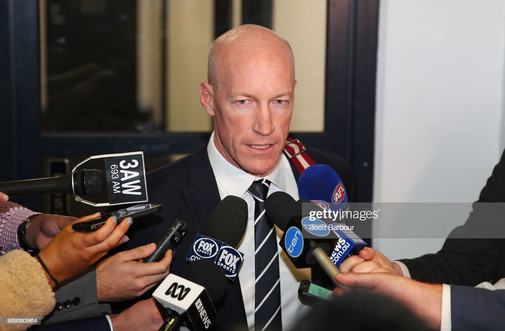 Andrew McKay, General Manager Football Operations at the Carlton Football Club speaks to the media after the AFL Tribunal Appeal Hearing into intentional contact with an umpire by Charlie Curnow and his brother Ed Curnow of the Carlton Blues at AFL House on May 17, 2018 in Melbourne, Australia.