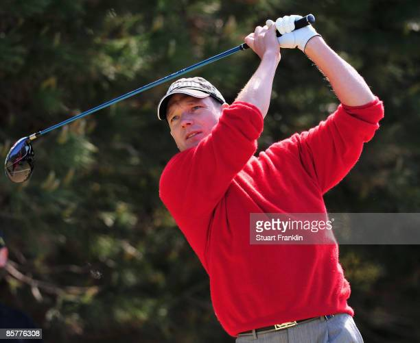 Andrew McLardy of South Africa plays his tee shot on the fourth hole during the first round of The Estoril Open de Portugal The Oitavos Dunes Golf...