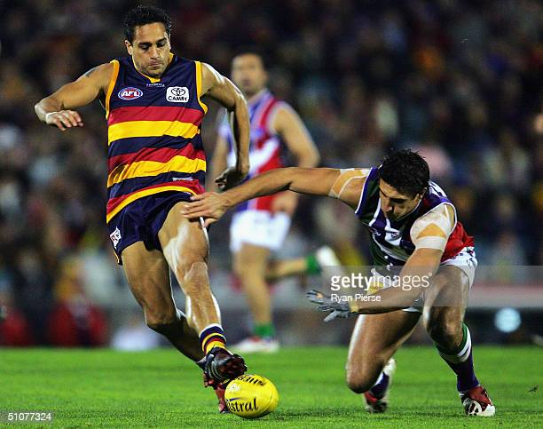 Andrew McLeod for the Crows competes for the ball with Matthew Pavlich for the Dockers during the round sixteen AFL match between The Adelaide Crows...