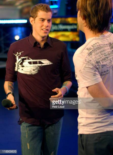 Andrew McMahon and VJ Steven during FUSE with Andrew McMahon of Jack's Mannequin June 6 2006 at FUSE Studios in New York City New York United States