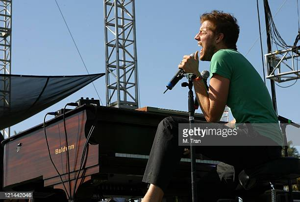 Andrew McMahon of Jack's Mannequin during Coachella Valley Music and Arts Festival Day Two Jack's Mannequin at Empire Polo Field in Indio California...