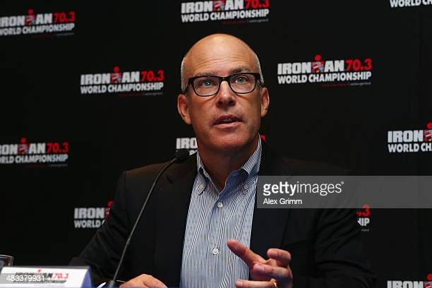 Andrew Messick Chief Executive Officer of IRONMAN talks during the 2015 IRONMAN 703 World Championships announcement press conference on April 8 2014...