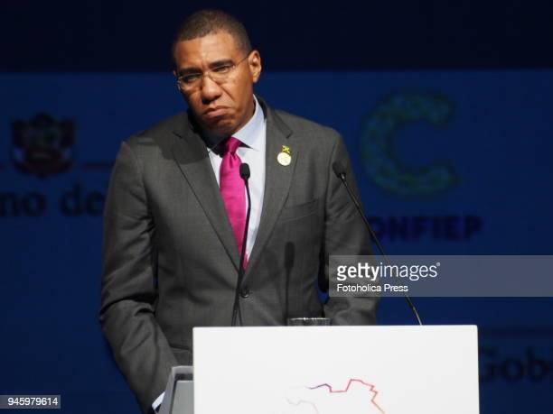 Andrew Michael Holness Prime Minister of Jamaica giving a lecture in the framework of the VIII Summit of the Americas The event takes place on April...