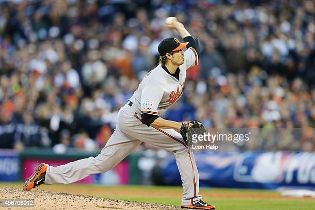 Andrew Miller of the Baltimore Orioles pitches in the eighth inning against the Detroit Tigers during Game Three of the American League Division...