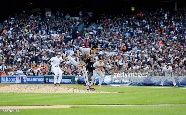 Andrew Miller of the Baltimore Orioles pitches in the seventh inning against the Detroit Tigers during Game Three of the American League Division...