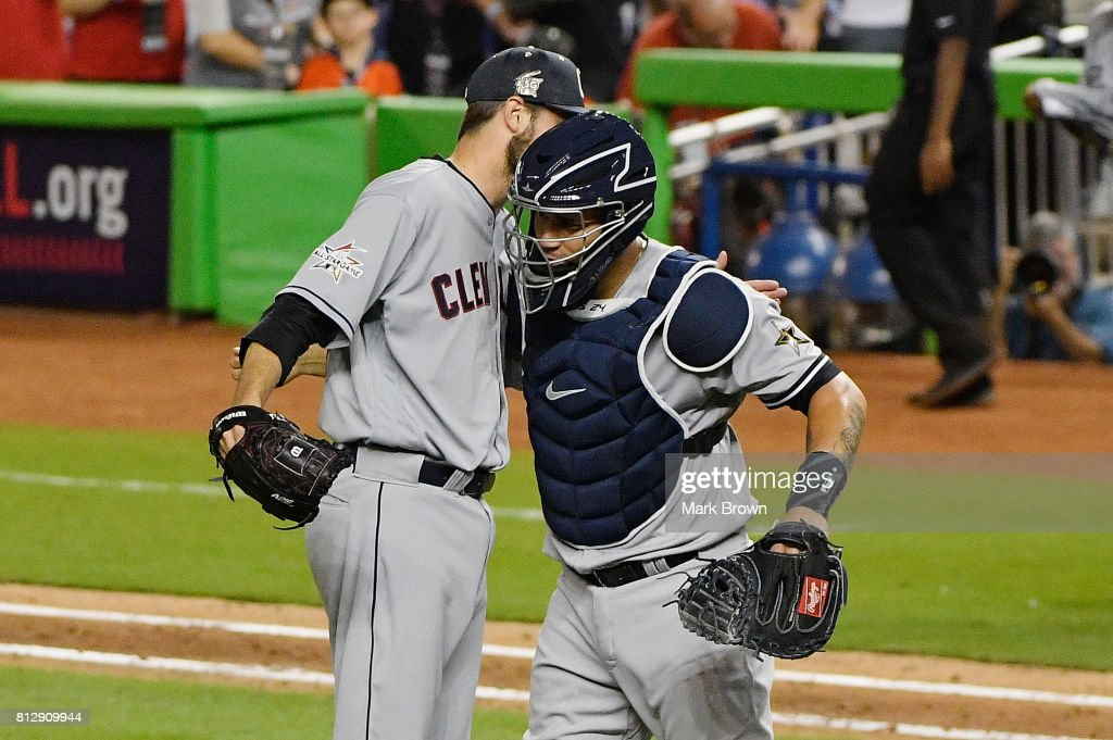 Andrew Miller #24 of the Cleveland Indians and the American League and Gary Sanchez #24 of the New York Yankees and the American League celebrate defeating the National League 2 to 1 during the 88th MLB All-Star Game at Marlins Park on July 11, 2017 in Miami, Florida.