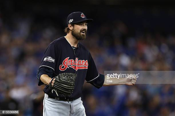 Andrew Miller of the Cleveland Indians celebrates after defeating the Toronto Blue Jays with a score of 4 to 2 in game three of the American League...