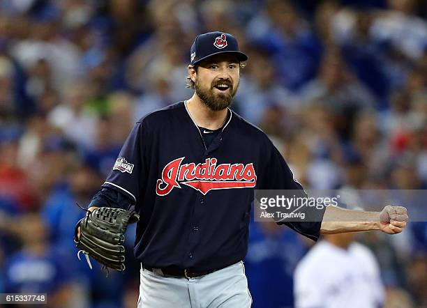 Andrew Miller of the Cleveland Indians celebrates after defeating the Toronto Blue Jays 42 in ALCS Game 3 at the Rogers Centre on Monday October 17...