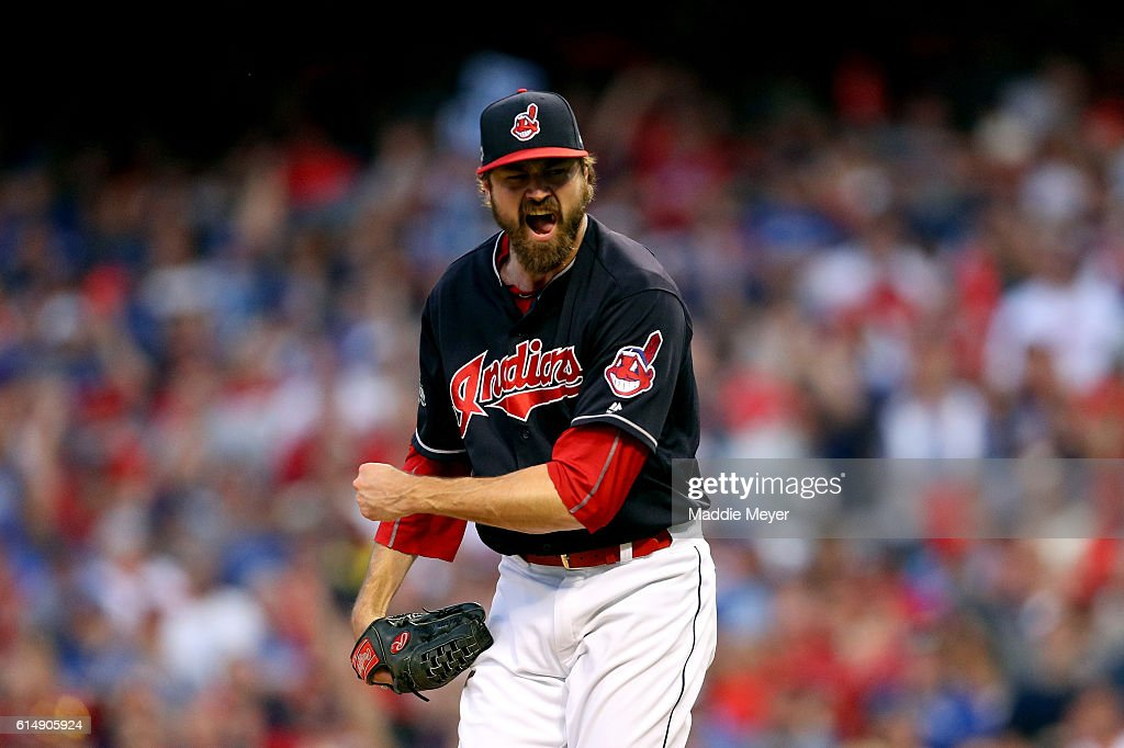 Andrew Miller #24 of the Cleveland Indians celebrates after striking out Josh Donaldson #20 of the Toronto Blue Jays in the top of the eighth inning during game two of the American League Championship Series at Progressive Field on October 15, 2016 in Cleveland, Ohio.