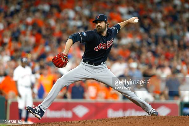 Andrew Miller of the Cleveland Indians delivers a pitch in the sixth inning against the Houston Astros during Game Two of the American League...