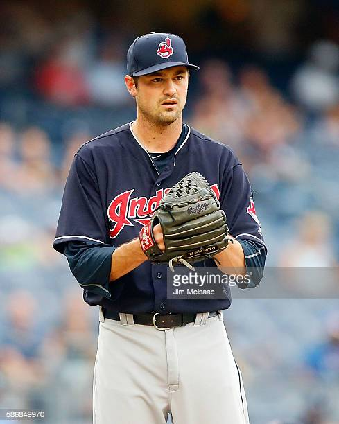 Andrew Miller of the Cleveland Indians in action against the New York Yankees at Yankee Stadium on August 6 2016 in the Bronx borough of New York...