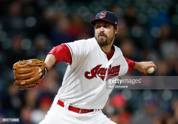 Andrew Miller of the Cleveland Indians pitches against the Chicago White Sox during the ninth inning at Progressive Field on September 29 2017 in...