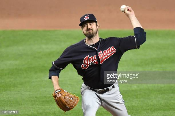 Andrew Miller of the Cleveland Indians pitches during a baseball game against the Baltimore Orioles at Oriole Park at Camden Yards on April 23 2018...
