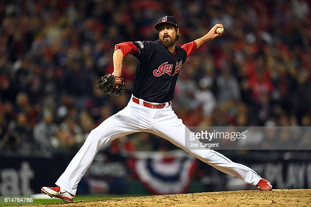Andrew Miller of the Cleveland Indians pitches during Game 1 of ALCS against the Toronto Blue Jays at Progressive Field on Friday October 14 2016 in...