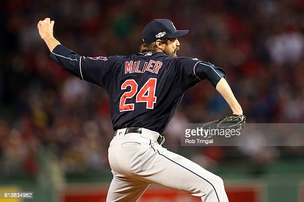 Andrew Miller of the Cleveland Indians pitches during Game 3 of ALDS against the Boston Red Sox at Fenway Park on Monday October 10 2016 in Boston...