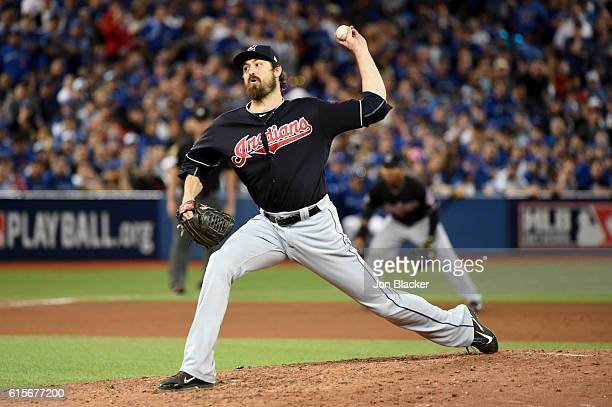 Andrew Miller of the Cleveland Indians pitches during Game 5 of the ALCS against the Toronto Blue Jays at the Rogers Centre on Wednesday October 19...