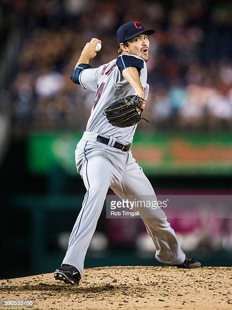 Andrew Miller of the Cleveland Indians pitches during the game against the Washington Nationals at Nationals Park on August 9 2016 in Washington DC 'n