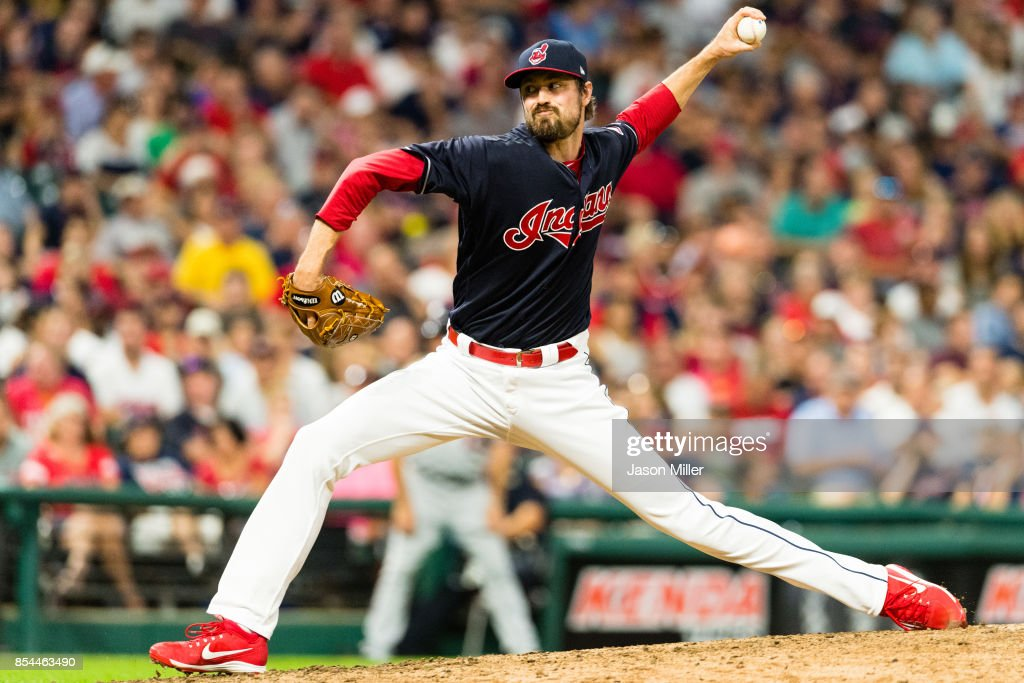Andrew Miller #24 of the Cleveland Indians pitches during the seventh inning against the Minnesota Twins at Progressive Field on September 26, 2017 in Cleveland, Ohio.