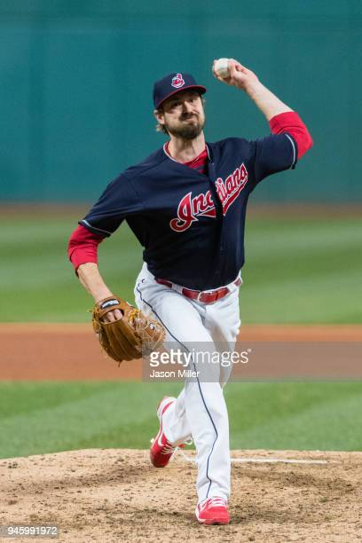 Andrew Miller of the Cleveland Indians pitches during the seventh inning against the Toronto Blue Jays at Progressive Field on April 13 2018 in...