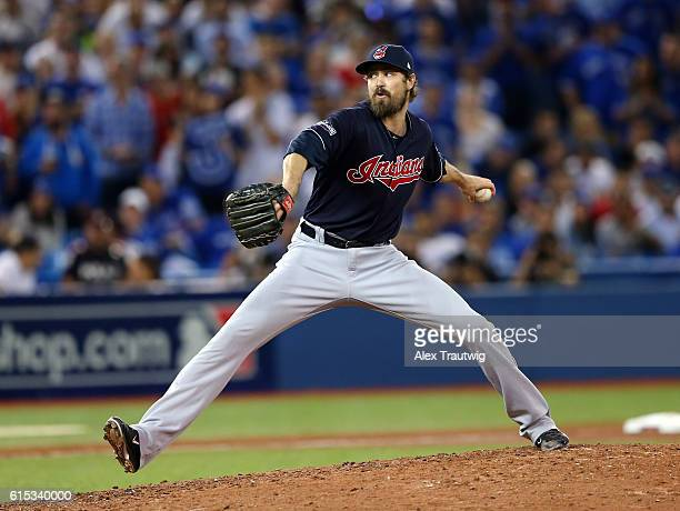 Andrew Miller of the Cleveland Indians pitches in the bottom of the ninth inning of ALCS Game 3 against the Toronto Blue Jays at the Rogers Centre on...