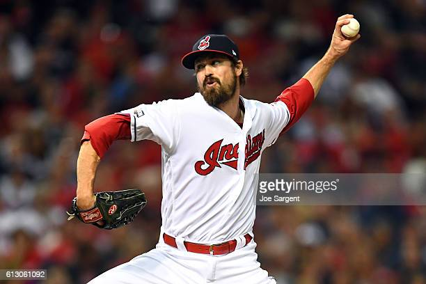Andrew Miller of the Cleveland Indians pitches in the fifth inning during Game 1 of ALDS against the Boston Red Sox at Progressive Field on Thursday...
