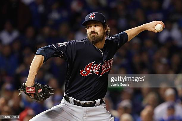Andrew Miller of the Cleveland Indians pitches in the fifth inning against the Chicago Cubs in Game Three of the 2016 World Series at Wrigley Field...