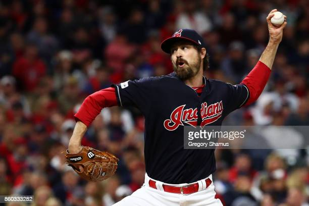 Andrew Miller of the Cleveland Indians pitches in the fourth inning against the New York Yankees in Game Five of the American League Divisional...