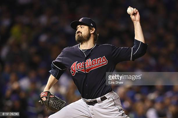 Andrew Miller of the Cleveland Indians pitches in the seventh inning against the Chicago Cubs in Game Four of the 2016 World Series at Wrigley Field...