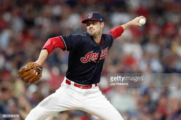 Andrew Miller of the Cleveland Indians pitches in the seventh inning against the Houston Astros at Progressive Field on May 25 2018 in Cleveland Ohio